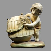 Antique Amphora Austria Hand Painted Porcelain Figurine of a Boy Carrying a Basket – Austria 19th Century