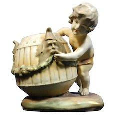 Antique Amphora Austria Hand Painted Porcelain Figurine of a Boy Carrying a Basket – Austria 19th Century
