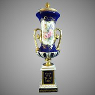Old Hand Painted Sevres Porcelain Urn with Flower Bouquets – France 20th Century