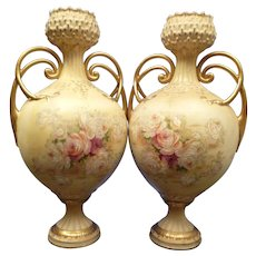 1850-1899 Pair of Art Nouveau Multi-Color Turn Wien Teplitz Amphora Style Porcelain Flower Vases Austria