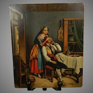 Antique Painting on Thin Metal Signed Europe