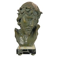 1900-1940 Art Nouveau Terracotta Bust of Jesus on a Marble Stand Belgium