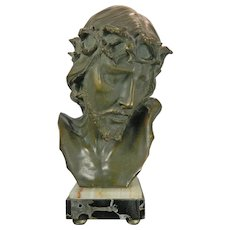 Old Art Nouveau Terracotta Bust of Jesus on a Marble Stand Belgium