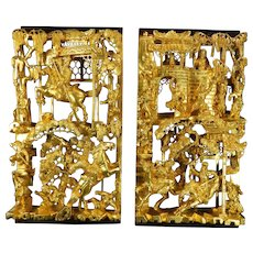 1850-1899 Chinese Hand Carved Gold Gilded Wood Screen Panels China 2 / 4