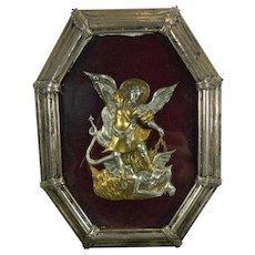 1900-1940 Framed Chiselled Vermeil Silver Archangel Saint Michael Image Spain