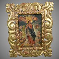 Antique Framed Painting on Copper The Ascent of the Virgin to Heaven México