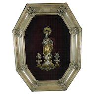 1900-1940 Framed Chiselled Vermeil Silver Virgin Mary Immaculate Image Spain