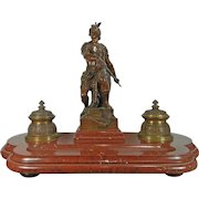 1850-1899 Bronze and Marble Statue Inkwell by E. Picault France