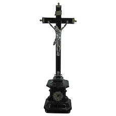 1850-1899 Chiseled Silver and Ebony Wood Crucifix Germany