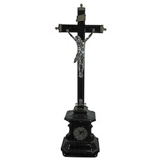 Antique Chiseled Silver and Ebony Wood Crucifix Germany