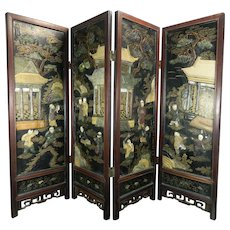 1850-1899 Chinese Miniature Hand Carved Wood and Mixed Materials Panel China