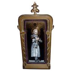1850-1899 Framed Enamel Plaque of Joan of Arc France