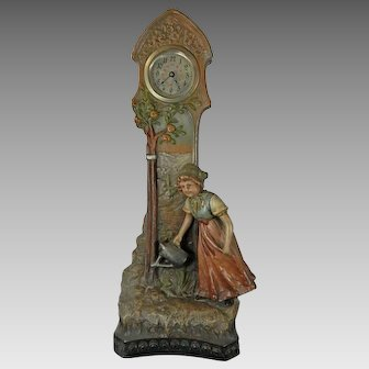 Antique Terracotta Mantle Clock Girl Watering Plants Czech Republic