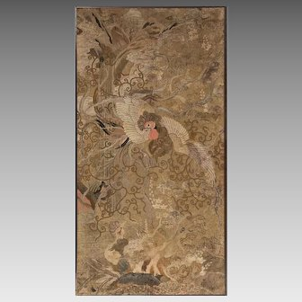 Antique Japanese Embroidery Tapestry in Silk and Metal Threads Cranes or Herons Multi-Color