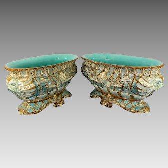 Antique Pair of Majolica Porcelain Jardinières William Schiller & Sons Austria
