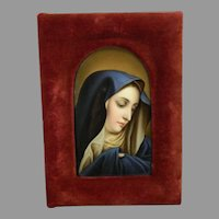 Antique Framed Hand Painted KPM Style Porcelain Plaque of The Virgin Mary – France 19th Century