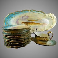 Antique Hand Painted Limoges Porcelain Fish Serving Set – France 19th Century