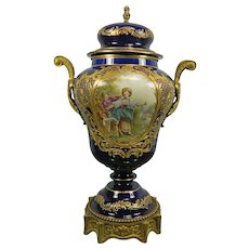 Antique Hand Painted Sevres Porcelain Urn – France 19th Century