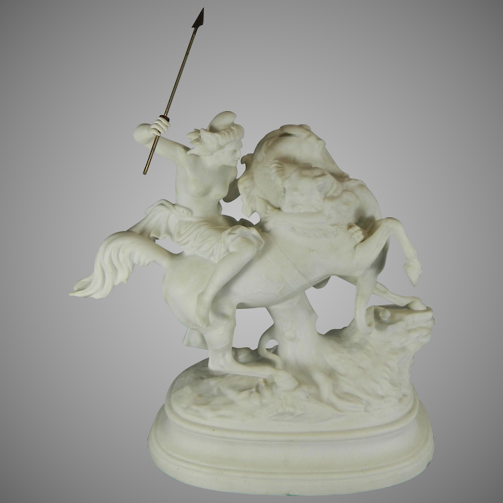 Antique White Parian or Biscuit Porcelain Figurine Set – Amazon Woman  Hunting a Tiger – Germany 19th Century