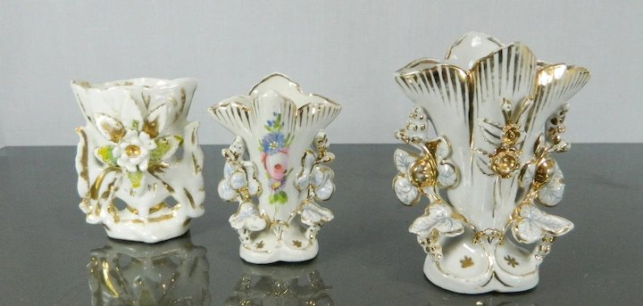 Vintage Set Of 3 Miniature Flower Vases Old Paris Style Porcelain