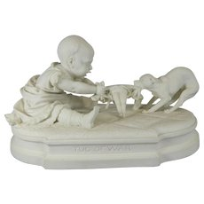 Antique White Parian or Biscuit Porcelain Figurine Set – Tug of War – Germany 19th Century