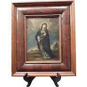 Antique Framed Oil Painting of our Mother of Sorrows – Mater Dolorosa – Mexico 18th Century