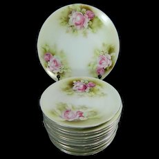 Vintage Hand Painted Dessert Set of 12 Saucers + Serving Plate Prov Saxe Porcelain – Germany 20th Century