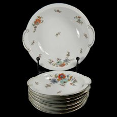 Vintage Hand Painted Dessert Set of 6 Ovoid Bowls + Serving Plate Thomas Porcelain – Germany 20th Century