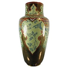Antique Hand Painted Sarreguemines Majolica Porcelain Flower Vase – Austria 19th Century