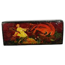 Vintage Hand Painted Russian Lacquered Wood Box Firebird Scene Russia 20th Century