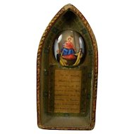 Antique Hand Painted Porcelain Religious Plaque Night Stand Prayer to the Virgin Mary and Baby Jesus Italy 19th Century
