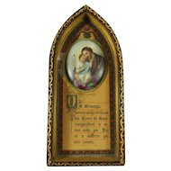 Antique Hand Painted Porcelain Religious Plaque Night Stand Prayer to Saint Joseph and Baby Jesus Italy 19th Century
