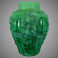Vintage Schelvogt Ingrid Art Deco Malachite Glass Flower Vase Dancing Lady Vase Czech Republic 20th Century