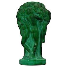 Vintage Schelvogt Ingrid Art Deco Malachite Glass Small Flower Vase Grape Harvest Czech Republic 20th Century