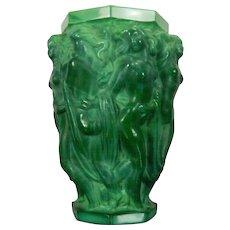 Vintage Schelvogt Ingrid Art Deco Malachite Glass Flower Vase Olympia Czech Republic 20th Century