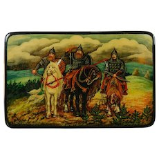 Vintage Hand Painted Russian Lacquered Wood Box 3 Russian Knights or Warriors Russia 20th Century