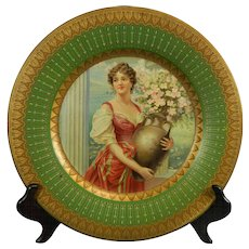 Vintage Metal Decoration Royal Vienna Style Plate with High Quality Lithography – USA 20th Century