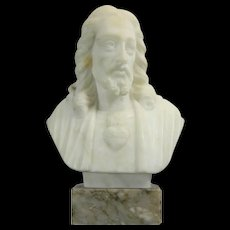 Antique Hand Carved Alabaster Bust of Our Sacred Heart – Italy 19th Century