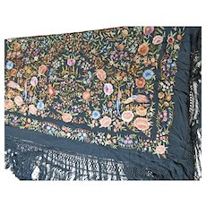 Antique Chinese Shawl or Manton in Black Silk with Multi-color Embroidery Bird and Flower Motifs – China 19th Century