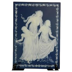 Vintage Mettlach Blue and White Porcelain Plaque by Villeroy & Boch – Germany 20th Century