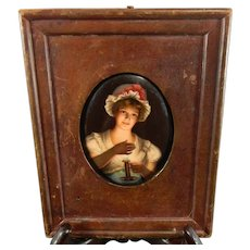 Antique Framed Miniature Painting – Candleholder Girl – France 19th Century