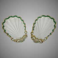 Antique Pair of Hand Painted Limoges Style Candy Dishes – France 19th Century
