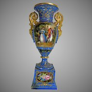 Antique Gold Gilded Hand Painted Old Paris Style Porcelain Flower Vase or Urn – France 19th Century