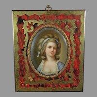 Antique Hand Painted Porcelain Plaque Portrait of a Girl – Boulle Frame – France 19th Century