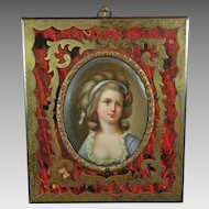 Antique Hand Painted Porcelain Plaque Portrait of a Girl – Boulle Frame – France 19th Century