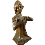 Antique Spelter – Bronze Composite Bust of Marguerite – France 19th Century