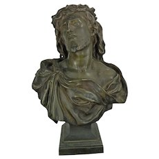 1850-1899 Bronze Figure Statue Bust of Christ Ecce Homo by Gautherin France