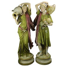 1900-1940 Multi-color Pair of Art Nouveau Royal Dux Porcelain Statues Czech Republic