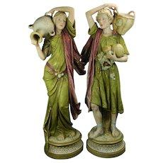 Antique Pair of Art Nouveau Royal Dux Porcelain Statues Czech Republic