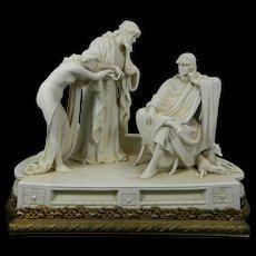 1900-1940 White Scheibe-Alsbach Porcelain Figurine Set Slave Trader Ormolu Stand Germany